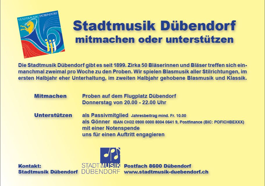 Mitmachen bei der Stadtmusik Dübendorf